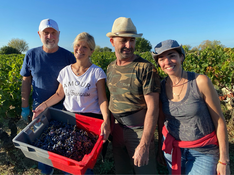 Carol and Steve join Winemakers Franck and Christine Avéla for last year's harvest