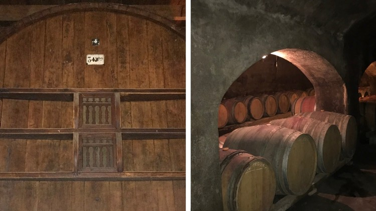 Left: 25 ft high foudre. Right: Original underground wine cellar, built in 1870