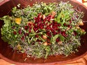 Arugula Salad with Avocados, Pomegranate Seeds and Croutons